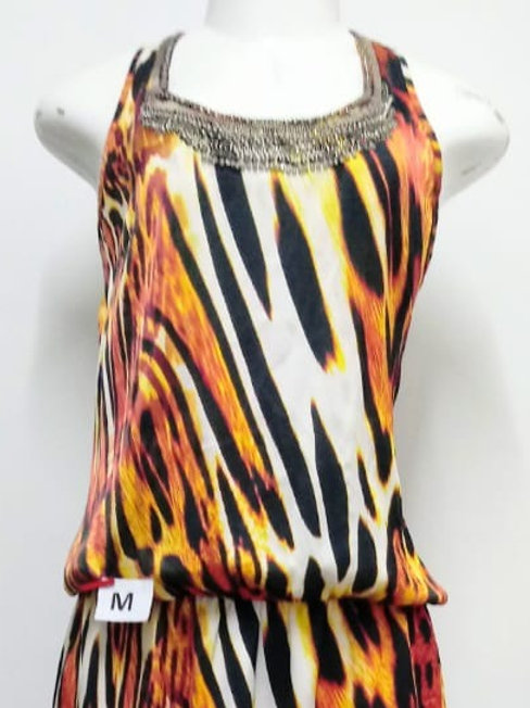 Vestido Animal Print com pedraria na cola