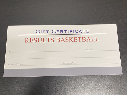 RESULTS Basketball Gift Certificate
