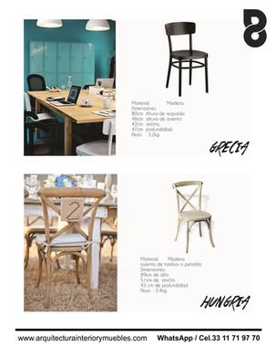 Sillas de madera para restaurantes y cafeterias