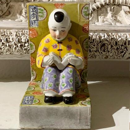 Porzellan Buchstütze Chinese Boy