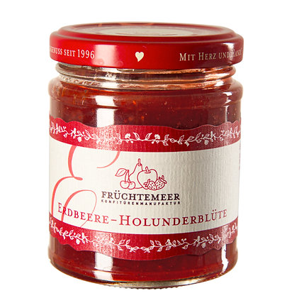 210g Handgemachter Fruchtaufstrich Erdbeere-Holunderblüte