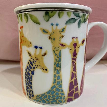 Teebecher Giraffe mit Deckel und Sieb