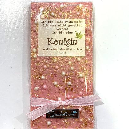 """100g Handgeschöpfte Erdbeerschokolade """"Ich bin Königin"""""""