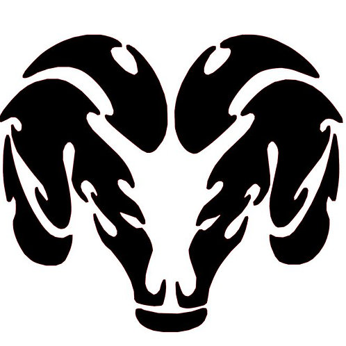Aries Zodiac Symbol Vinyl Decal - Aries Horoscope Sticker - Dodge Emblem