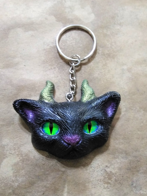 Keychain (handmade) - Black Demon Kitten Keychain with Green Glass Eyes