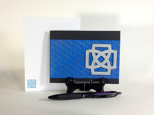 Blue Silver Celtic Knot Notecard