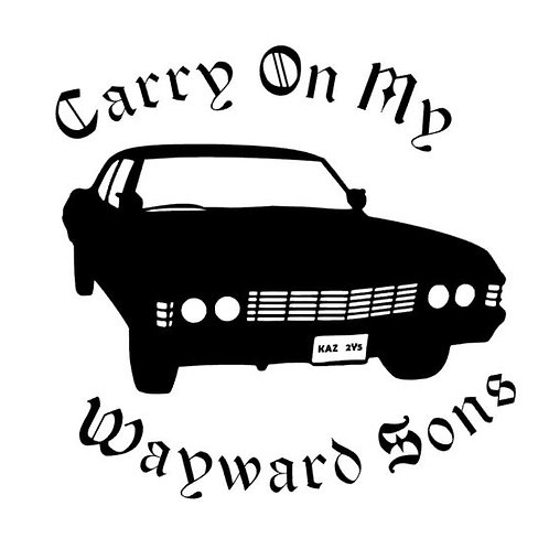 Carry On My Wayward Sons - Sam and Dean '67 Chevy Supernatural Vinyl Decal