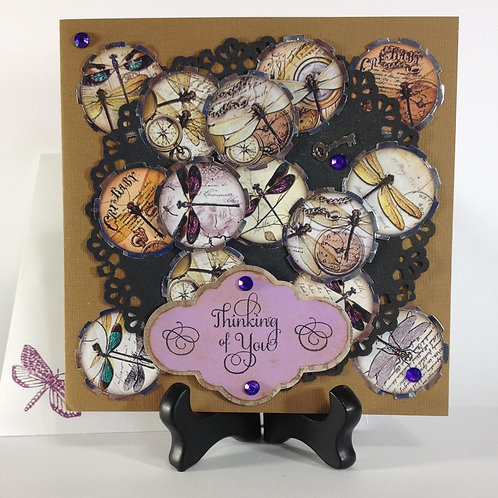 Steampunk Lace and Dragonflies Handmade Card