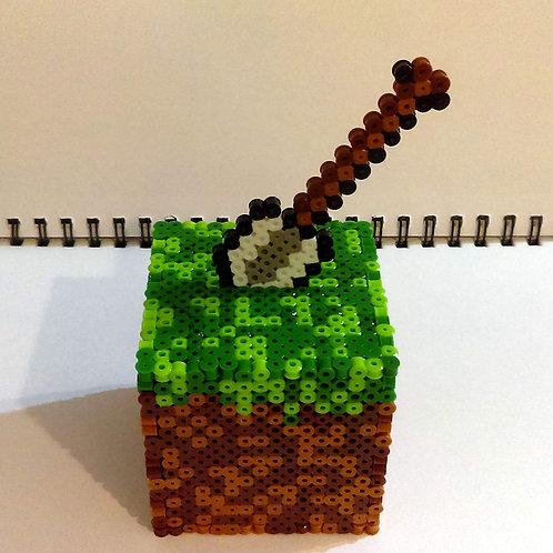 Handmade Minecraft Dirt Cube Coin Bank Keepsake Trinket Box w/Shovel