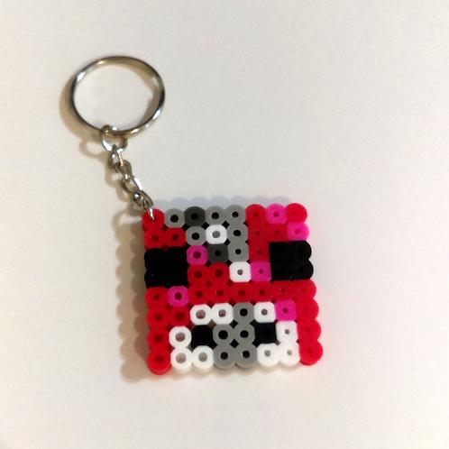 Keychain (handmade) - Mini-Bead Minecraft Mooshroom Head