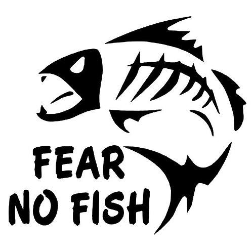 Fear No Fish Bones Vinyl Decal- Piranha Decal - Fishing Stickers