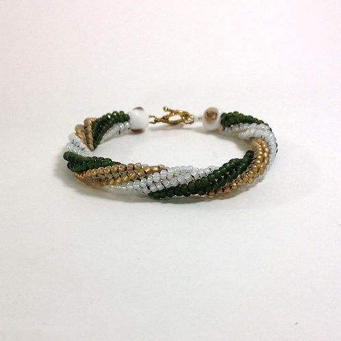 Twisted Herringbone Handmade Beaded Bracelet