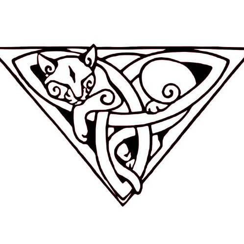 Celtic Knotwork Cat Vinyl Decal - Viking Cat Sticker - Sleeping Kitty Decal