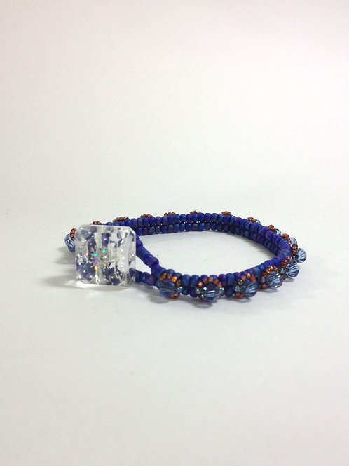 Matte Blue / Crystal Blue Stackable Bracelet