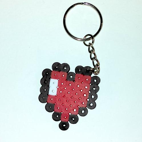 Keychain (handmade) - Fuse Bead Life Heart, Love Heart, Gamer Keychain