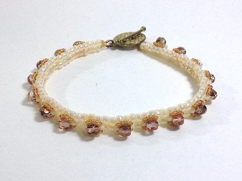 Cream / Pink Skinny Stackable Embellished Bracelet