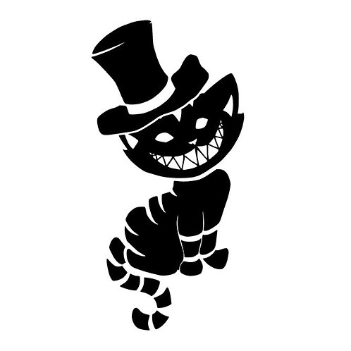 Dark Cheshire Cat with a Top Hat Vinyl Decal - Top Hat Cheshire Cat Sticker