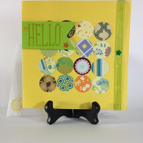"""Lemon Lime """"Hello"""" Handmade Card"""