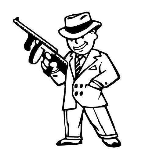 Pip Boy Mafioso Decal - Fallout 4 Mob Boss Sticker - Vault Boy Vinyl Decal
