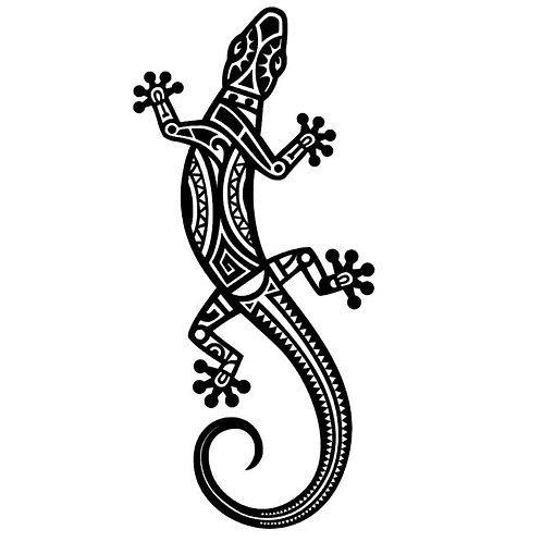 Tribal Gecko Lizard  Vinyl Decal - Gecko Stickers, Lizard Decals
