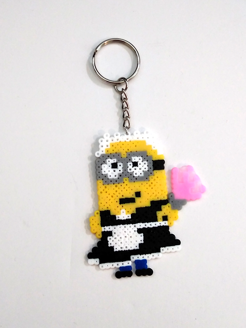 Keychain (handmade) - Mini-Bead Minion French Maid