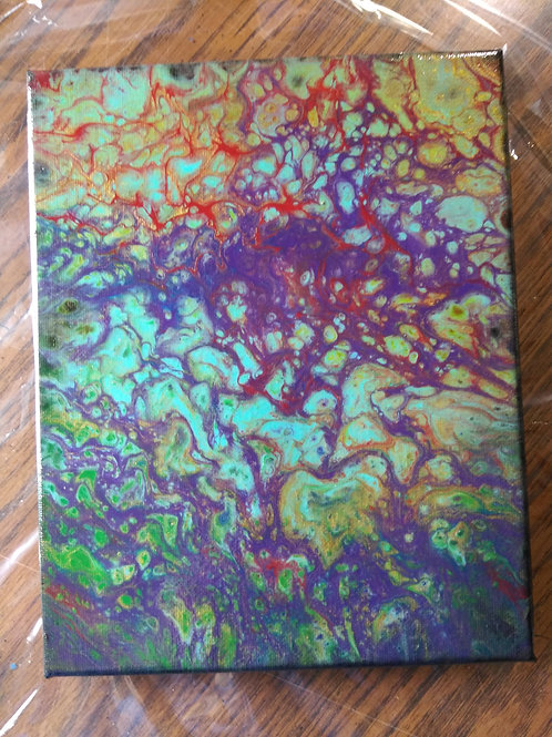 "Abstract Acrylic Pour Painting - 8""x10"" Purple, Gold, Green, Blue"