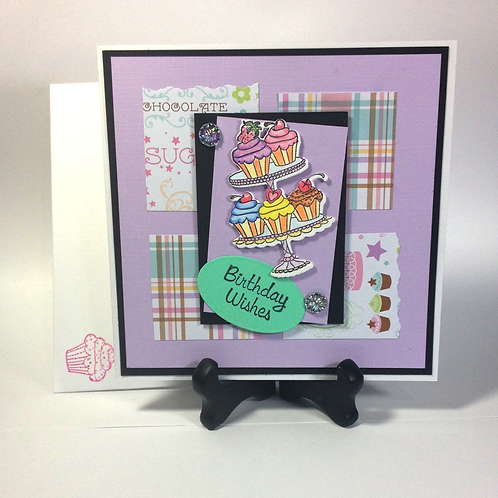 Purple / Plaid CupCake Platter Birthday Card