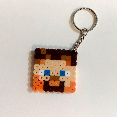 Keychain (handmade) - Fuse Bead Minecraft Steve Head