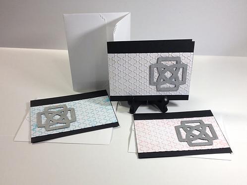 White / Silver Celtic Knot Handmade Notecard