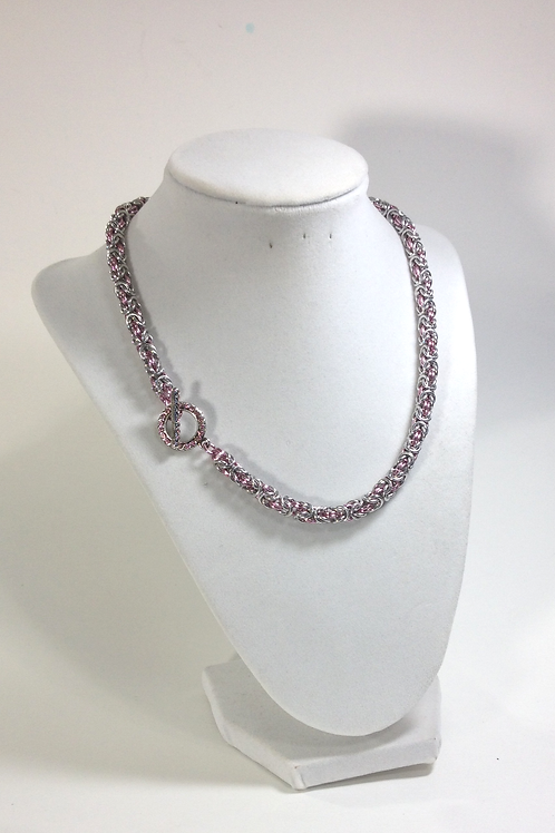 Pink Byzantine Chainmaille Handcrafted Necklace