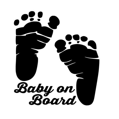 Baby On Board - Baby Feet Vinyl Decal - Baby Shower Gift