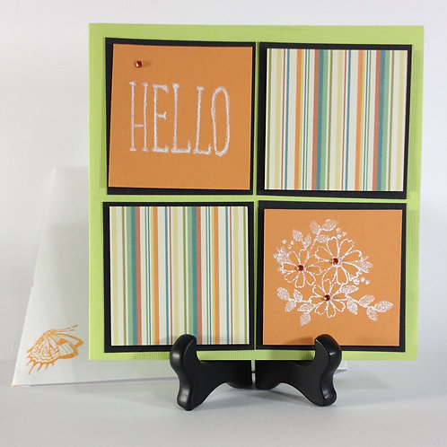 "Vintage / Retro ""Hello"" Block Art Handmade Card"
