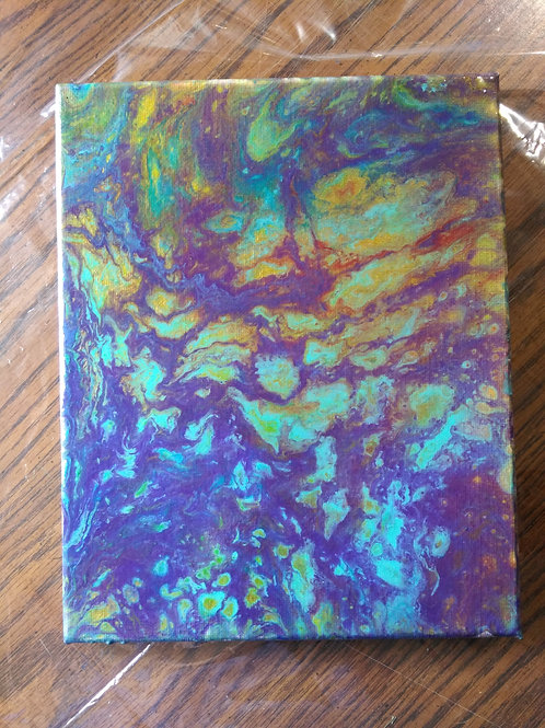 "Abstract Acrylic Pour Painting - 8""x10"" Gold, Green, Purple, Blue"