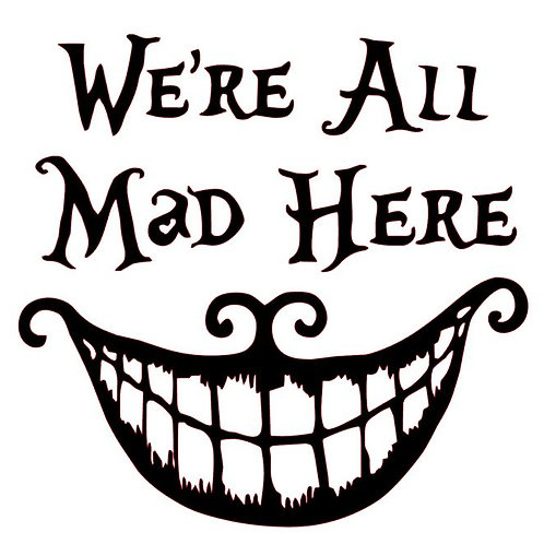 We Are All Mad Here Cheshire Grin Vinyl Decal