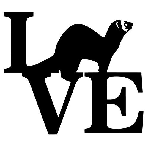 LOVE Ferrets Vinyl Decal - LOVE retro style sticker