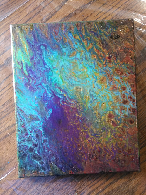 """Abstract Acrylic Pour Painting - 8""""x10"""" Purple, Gold, Blue, Green"""