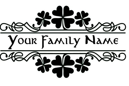 Shamrock Door or Mailbox Family / Business Name Vinyl Decal
