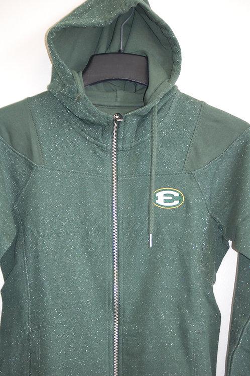 Jacket Full Zip Fleece Hood Pine/Glitter