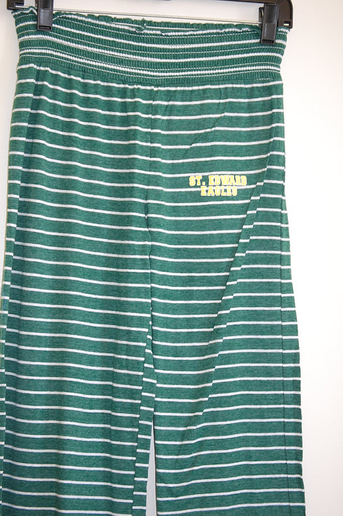 Ladies Loungepants Green w/white stripes