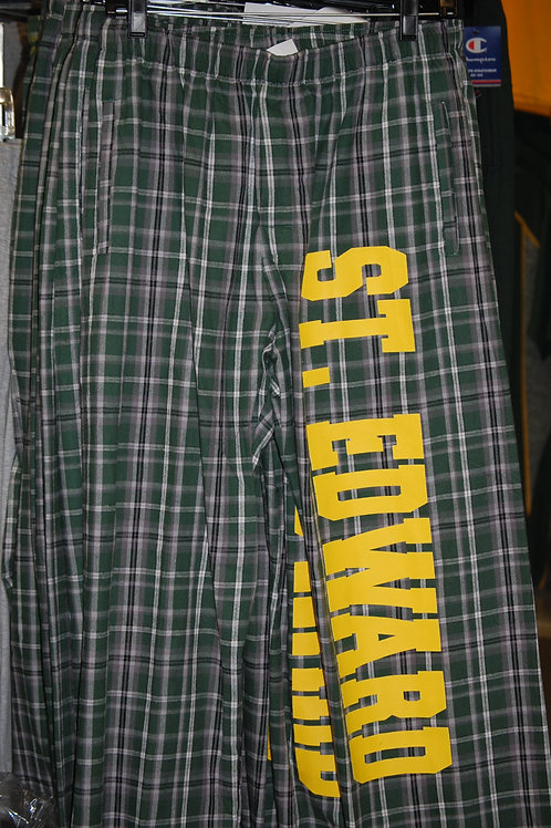 Pocketed Flannel Pants Green/Black/White Plaid