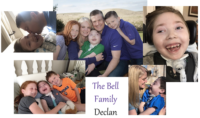 pictures of Declan, a young boy who has SCN8A, a trach and a big smile, and his family.