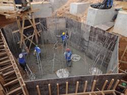 Execução do lastro de bloco de fundação