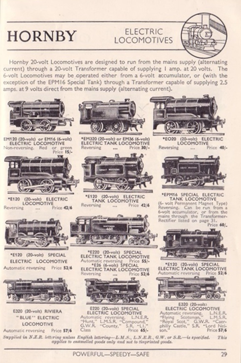 Hornby Electric Locomotives 1937
