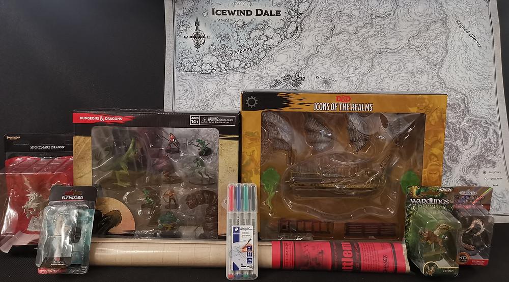 Spielfiguren bemalt und unbemalt, Battlemat, Dungeon & Dragons