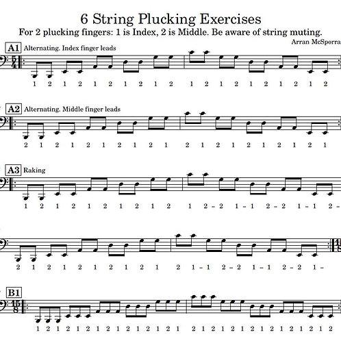 6 string bass 2-finger plucking hand exercises