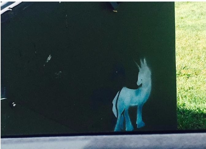 Unicorn on the dumpster, photo Courtesy of Unknown Street Artist