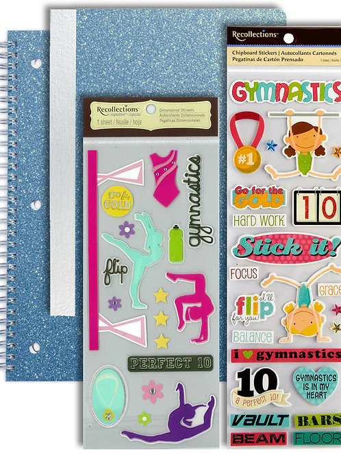Glitter Notebook & Gymnastic Sticker Set