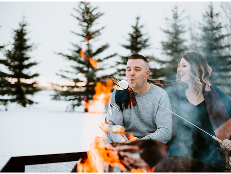 Carley + Mike | Winter Adventure Engagement Session | Calmar, Alberta