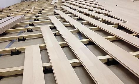 Sports floor installation