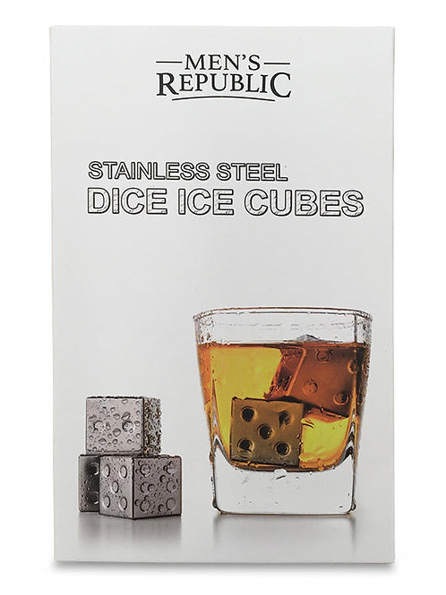 Men's Republic Dice Ice Cubes - 4 Pieces Stainless Steel